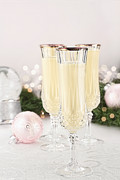 Flutes Photos - Eggnog in Fluted Crystal Glasses by Stephanie Frey