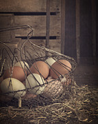 Edward Fielding - Eggs in vintage wire egg basket