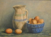 Kathy Morris Paintings - Eggs n Cobalt by Kathy Morris
