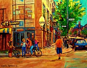 Quebec Paintings - Eggspectation Cafe Resto Bar On Esplanade Montreal Restaurant City Scene by Carole Spandau