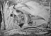Fantastic Drawings Prints - Ego-bird-fish Nesting Ground Print by Otto Rapp