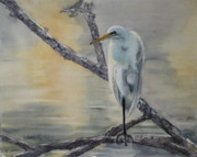 Shorebird Paintings - Egret at Dusk by Patricia Pushaw