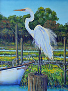 Isle Of Palms Paintings - Egret at Shem Creek Docks  by Dwain Ray