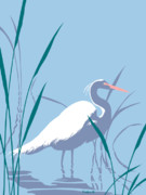 1980s Prints - Egret graphic pop art nouveau 80s 1980s stylized retro tropical florida bird print blue gray green Print by Walt Curlee