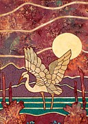 Quilting Machine Tapestries - Textiles Metal Prints - Egret Metal Print by Jean Baardsen