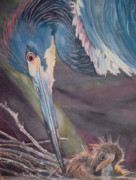Egret Painting Originals - Egret Love by Jan Fontecchio Perley