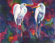 Egret Paintings - Egret Lovers by Mickey Krause