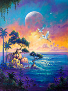 Tropical Paintings - Egret Moon by Keith Stillwagon