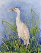 Reverse Acrylic On Glass Glass Art Framed Prints - Egret Morning Framed Print by Anna Skaradzinska