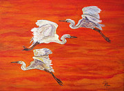 Black Bird.flying Art Painting Posters - Egrets In Flight Poster by Ella Kaye