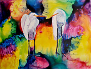 Egret Paintings - Egrets in Love by Mickey Krause