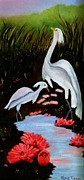 Egrets Paintings - Egrets in Paradise by Janis  Tafoya