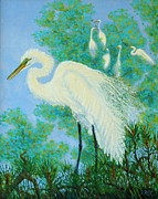 Isle Of Palms Paintings - Egrets in Rookery - 20x16 by Dwain Ray