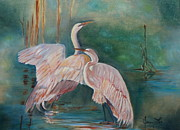 Egrets Paintings - Egrets in the Mist by Jenny Lee