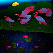 Egrets Print by Latha Gokuldas Panicker