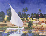 Destination Painting Posters - Egypt Blue Poster by Clive Metcalfe