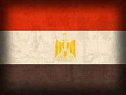 Egypt Metal Prints - Egypt Flag Distressed Vintage Finish Metal Print by Design Turnpike