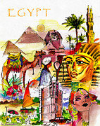 Landscape Drawings Drawings Acrylic Prints - Egypt Acrylic Print by George Rossidis