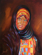 Oriental Style Paintings - Egyptian Nubian girl by Ahmed Bayomi