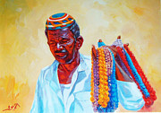 Oriental Style Paintings - Egyptian Nubian Vendor by Ahmed Bayomi