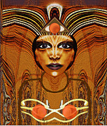 Relief Print Art - Egyptian Woman Warrior Magic - 055 by Irmgard Schoendorf Welch