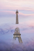 Cloudscape Digital Art - Eifell Tower by Fog by Martin Dzurjanik