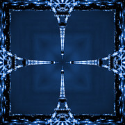 Blue Art Prints - Eiffel Art 27 Print by Mike McGlothlen