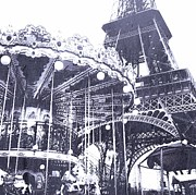 Black And White Paris Mixed Media Posters - Eiffel Playground Poster by CD Kirven