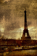 Surreal Paris Decor Photos Prints - Eiffel Tower Abstract Impressionistic Painting-Photograph Print by Kathy Fornal