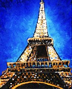 Planets Drawings Framed Prints - Eiffel Tower Framed Print by Anastasiya Malakhova