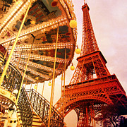 Vintage Eiffel Tower Posters - Eiffel Tower and Carrousel Filtered Poster by Heidi Hermes