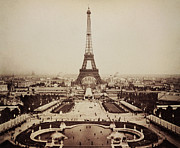 Champ De Mars Prints - Eiffel Tower and Champ de Mars 1889 Print by Digital Reproductions