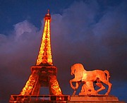 John Malone Art Work Digital Art Metal Prints - Eiffel Tower and Horse Metal Print by John Malone