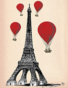 Wall Art Greeting Cards Digital Art Posters - Eiffel Tower and Red Hot Air Balloons Poster by Kelly McLaughlan