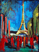 Cloth Pastels Posters - Eiffel Tower And The Red Visitors Poster by EMONA Art