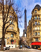 European Cafes Digital Art Prints - Eiffel Tower and the Streets of Paris Print by Mark E Tisdale