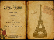 Eiffel Tower Antique Book Print by Becky Hayes