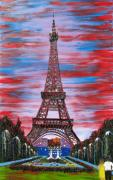 Bastille Painting Posters - Eiffel Tower At Bastille Day Poster by James Dunbar