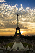 Night Scenes Posters - Eiffel Tower at Sunset Poster by Debra and Dave Vanderlaan