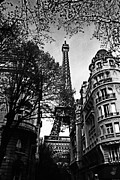 White Prints - Eiffel Tower Black and White Print by Andrew Fare