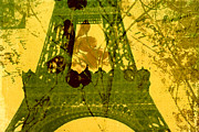 French Handwriting Prints - Eiffel Tower Print by Bonnie Bruno