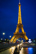Streetlight Prints - Eiffel Tower by Night Print by Inge Johnsson