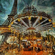 Poster Framed Prints - Eiffel Tower Carousel Framed Print by Dragica  Micki Fortuna