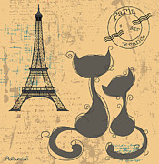 Lori Malibuitalian - Eiffel Tower Cat Couple