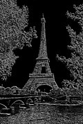 Wine Tour Framed Prints - Eiffel Tower Charcoal Negative Image Dark Framed Print by L Brown