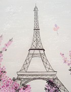 Cherry Blossoms Drawings Metal Prints - Eiffel Tower  Metal Print by Christine Corretti