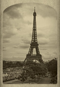 Vintage River Scenes Framed Prints - Eiffel Tower Framed Print by Debra and Dave Vanderlaan