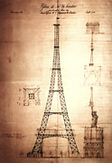 Paris Digital Art Posters - Eiffel Tower Design Poster by Bill Cannon