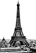 Eiffel Tower Drawings Metal Prints - Eiffel Tower Drawing 19th Century Metal Print by