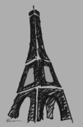 Paris Drawings Posters - Eiffel Tower Graphic Poster by Robyn Saunders